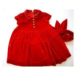 Ralph Lauren Silk Blend Infant Red Holiday Dress